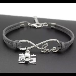 Jewelry - NEW gray leather camera charm bracelet